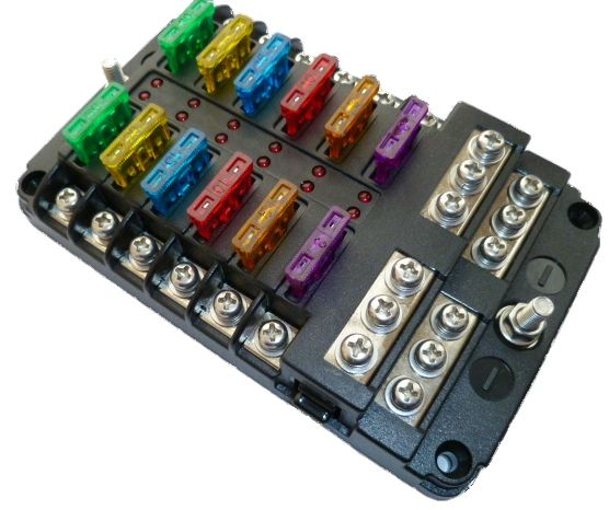 12 way power distribution led fuse box with positive and negative busbars alt fh sfa50702 12 40. Black Bedroom Furniture Sets. Home Design Ideas