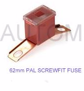 PAL' fuse MALE  <br>Screw fitting  <br>20 - 100 Amp rating <br>62mm length  Standard size PAL fuses